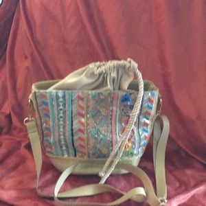 Handbags - Small Cute straw bag with material inside